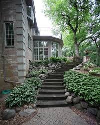 railroad ties landscaping landscape mediterranean with steps on a