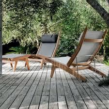 fabric deck chair teak by henrik pedersen gloster