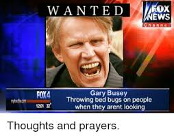 Gary Busey Meme - wanted ews channe foy4 gary busey throwing bed bugs on people 1201