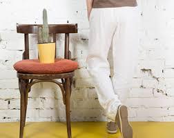 White Linen White Linen Pants Etsy