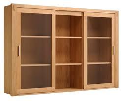 solid oak 2 glass door hutch top with shelves