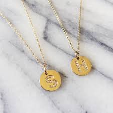 white gold initial disc necklace personalised initial diamond small disc necklace annielka 14k gold