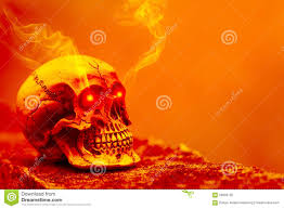 abstract skull in orange tone with eye shining light and smoke