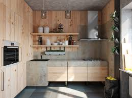 kitchen compact kitchen with raw wood panel wall and wall mounted