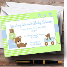 teddy bear baby shower invitations blue green teddy bears personalised baby shower invitations the
