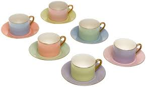 tea cup set classic coffee and tea cups and saucers set 6 solid colors