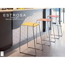 tabouret de bar estrosa 80 piétement peint noir assise couleur aluminium