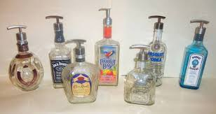 unique soap dispenser upcycled whiskey tequila beer bottle decorative soap pump