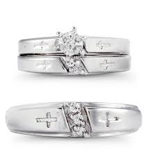 wedding trio sets 14k white gold cz engraved cross wedding trio set