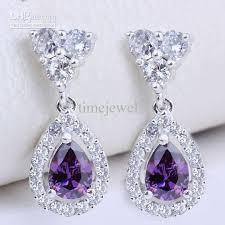purple earrings earrings pear purple amethyst eh0129 yin dangle piercing pin