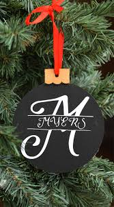 monogram christmas split monogram christmas ornament
