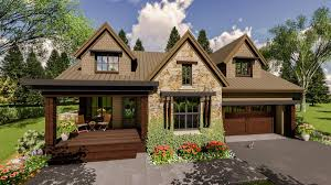 craftsman house plan with upper level in law suite 14658rk