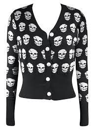 skull sweater riot riot skull cardigan in black trouble apparel
