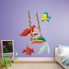 Disney Bedroom Wall Stickers Ariel Swinging Mermaid Wall Decals Real Big And Playrooms
