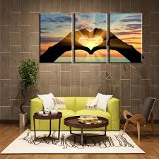 sunshine shadow ocean heart shape painting picture cuadros canvas