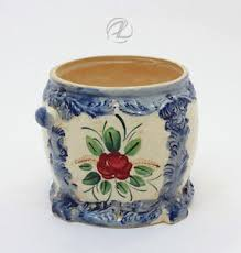 Shabby Chic Pottery by Vintage Biscuit Jar Blue White Floral Antique Japan Pottery Shabby