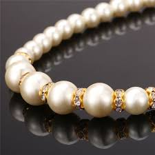 gold plated bead necklace images U7 simulated pearl beads necklace for women jewelry wholesale jpg