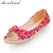 Comfort Flat Shoes Meotina Shoes Women Peep Toe Women Flat Shoes Comfort Ballet Bow