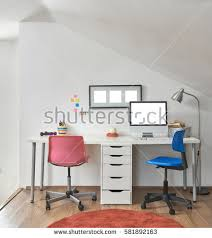 working desk interior loft chairs frame stock photo 581892181