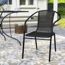 black patio dining chairs you u0027ll love wayfair
