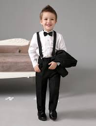 Easter Clothes For Baby Boy Four Pieces Luxurious Black Ring Bearer Suits Cool Boys Tuxedo