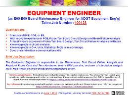 Failure Analysis Engineer Resume Equipment Engineer Equipment Engineer As E05 E09 Board