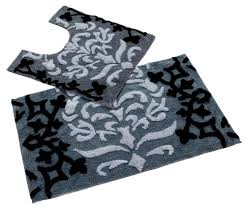 Non Slip Bath And Pedestal Mats Homescapes Damask Bath Mat And Pedestal Mat Set Black 50 X 80 Cm