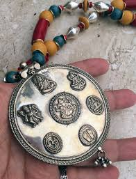 long boho pendant necklace images Tribal indian hindu deity god silver red bamboo coral religious JPG