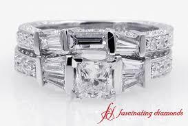 Princess Cut Diamond Wedding Rings by Vintage Style Baguette With Princess Cut Diamond Wedding Ring Set