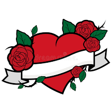 heart roses and banner stock vector image 50434611