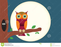 owl with tree and moon stock vector illustration of spooky
