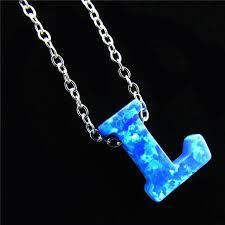 aliexpress com buy 21654 blue fire opal pendant alphabet l