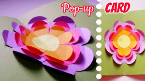 How To Make Easy Paper Flowers For Cards - diy pop up card simple quick and easy flower pop up card how