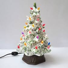 ceramic lighted christmas tree white vintage holland mold 12