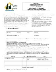 dependent student verification worksheet free worksheets library