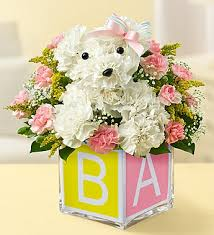 dog flower arrangement baby girl a dog able flower shop florist in rapid city sd