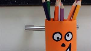 easy recycled crafts for kids pumpkin holder for pencils by