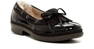 ugg haylie sale lyst ugg haylie uggpure tm lined boat shoe in black