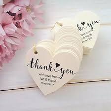 wedding tags personalised heart wedding favour thank you tags ivory