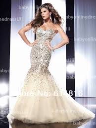 shipping mermaid sweetheart organza satin sequined prom dresses