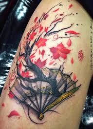 japanese traditional style colored of fan with big tree