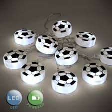 set of 10 battery operated white led football fairy string