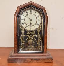 Linden Mantel Clock Vintage Octagon Top Clock With Gilt Accented Glass Ebth