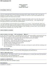 hr coordinator cv example u2013 cover letters and cv examples