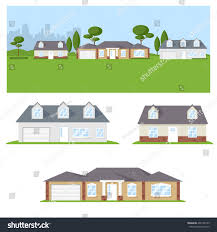landscape different types houses gardens stock vector 466158755