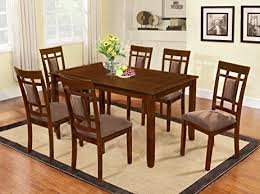 solid wood dining room tables amazon com the room style 7 piece cherry finish solid wood dining
