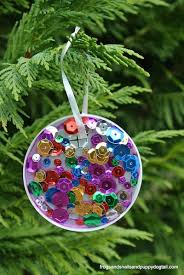 plastic lid sequin ornaments things to make and do crafts and