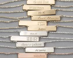 personalized silver bar necklace gold or silver bar necklace personalized name necklace