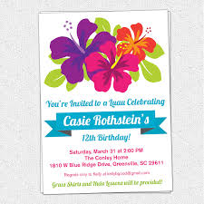 free printable luau birthday invitations templates party