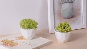 great idea for small plants white ceramic geometric shape flower